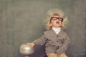 funny static electricity photo of young einstein-type child